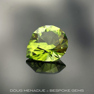 Peridot, Brilliant Pear, Pakistan, #657 - Doug Menadue :: Bespoke Gems - Master gemcutter and lapidary artist specialising in fine custom cut precision gems from a wide range of select facet gem rough. Located in Sydney, Australia.