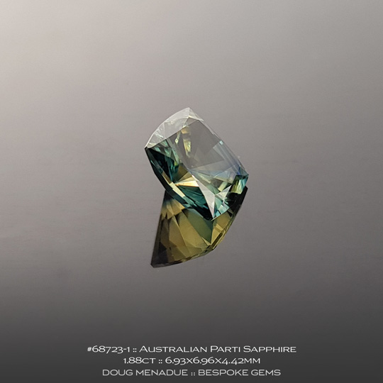 #68723-1, Australian Sapphire, Square Cushion, 1.88 Carats, 6.93X6.96X4.42mm, Parti Colour - Yellow Green Teal - A beautiful natural Australian Sapphire from the gemfields around Rubyvale, Central Queensland, Australia - Doug Menadue :: Bespoke Gems :: WWW.BESPOKE-GEMS.COM - Finest Quality Precision Custom Gemcutting and Lapidary Services Based In Sydney Australia