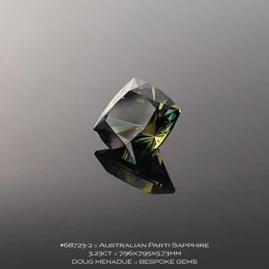 #68723-2, Australian Sapphire, Square Cushion, 3.23 Carats, 7.96X7.95X5.73mm, Parti Colour - Yellow Green Teal - A beautiful natural Australian Sapphire from the gemfields around Rubyvale, Central Queensland, Australia - Doug Menadue :: Bespoke Gems :: WWW.BESPOKE-GEMS.COM - Finest Quality Precision Custom Gemcutting and Lapidary Services Based In Sydney Australia
