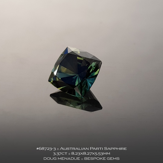 #68723-3, Australian Sapphire, Square Cushion, 3.37 Carats, 8.23X8.27X5.53mm, Parti Colour - Yellow Green Teal - A beautiful natural Australian Sapphire from the gemfields around Rubyvale, Central Queensland, Australia - Doug Menadue :: Bespoke Gems :: WWW.BESPOKE-GEMS.COM - Finest Quality Precision Custom Gemcutting and Lapidary Services Based In Sydney Australia