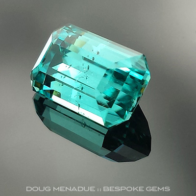 Blue Tourmaline, Brazil, Emerald Step Cut, #708 - Doug Menadue :: Bespoke Gems - Master gemcutter and lapidary artist specialising in fine custom cut precision gems from a wide range of select facet gem rough. Located in Sydney, Australia.