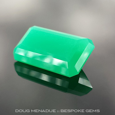 Chrysoprase, Emerald Step Cut, #720 - Doug Menadue :: Bespoke Gems - Master gemcutter and lapidary artist specialising in fine custom cut precision gems from a wide range of select facet gem rough. Located in Sydney, Australia.