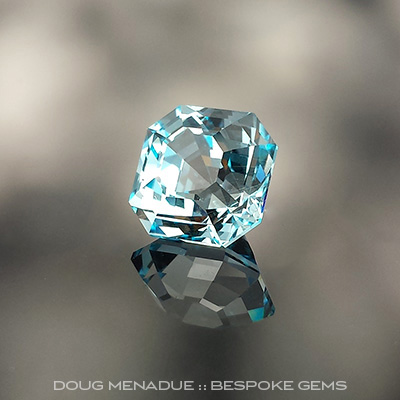 Blue Topaz, Asscher, Brazil, #734 - Doug Menadue :: Bespoke Gems - Master gemcutter and lapidary artist specialising in fine custom cut precision gems from a wide range of select facet gem rough. Located in Sydney, Australia.