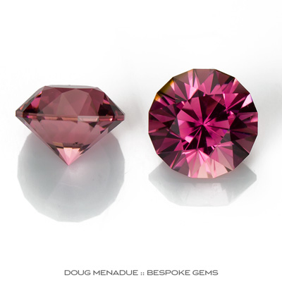 Pink Tourmaline, Mini-Mint, Nigeria, Matched Pair Perfect For Earrings Or Studs, 2.84 TCW, 6.6mm, #938, Precision hand faceted by Doug Menadue :: Bespoke Gems - Master gemcutter and lapidary artist specialising in fine custom cut precision gems from a wide range of select facet gem rough. Located in Sydney, Australia.