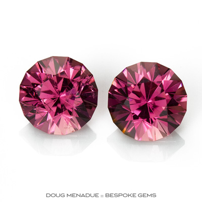 Pink Tourmaline, Mini-Mint, Nigeria, Matched Pair Perfect For Earrings Or Studs, 2.84 TCW, 6.6mm, #938, Precision hand faceted by Doug Menadue :: Bespoke Gems
