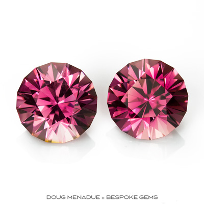 Pink Tourmaline, Mini-Mint, Nigeria, Matched Pair Perfect For Earrings Or Studs, 3.93tcw, 7.5mm, #940, Precision hand faceted by Doug Menadue :: Bespoke Gems - Master gemcutter and lapidary artist specialising in fine custom cut precision gems from a wide range of select facet gem rough. Located in Sydney, Australia.