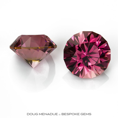 Pink Tourmaline, Mini-Mint, Nigeria, Matched Pair Perfect For Earrings Or Studs, 3.93tcw, 7.5mm, #940, Precision hand faceted by Doug Menadue :: Bespoke Gems