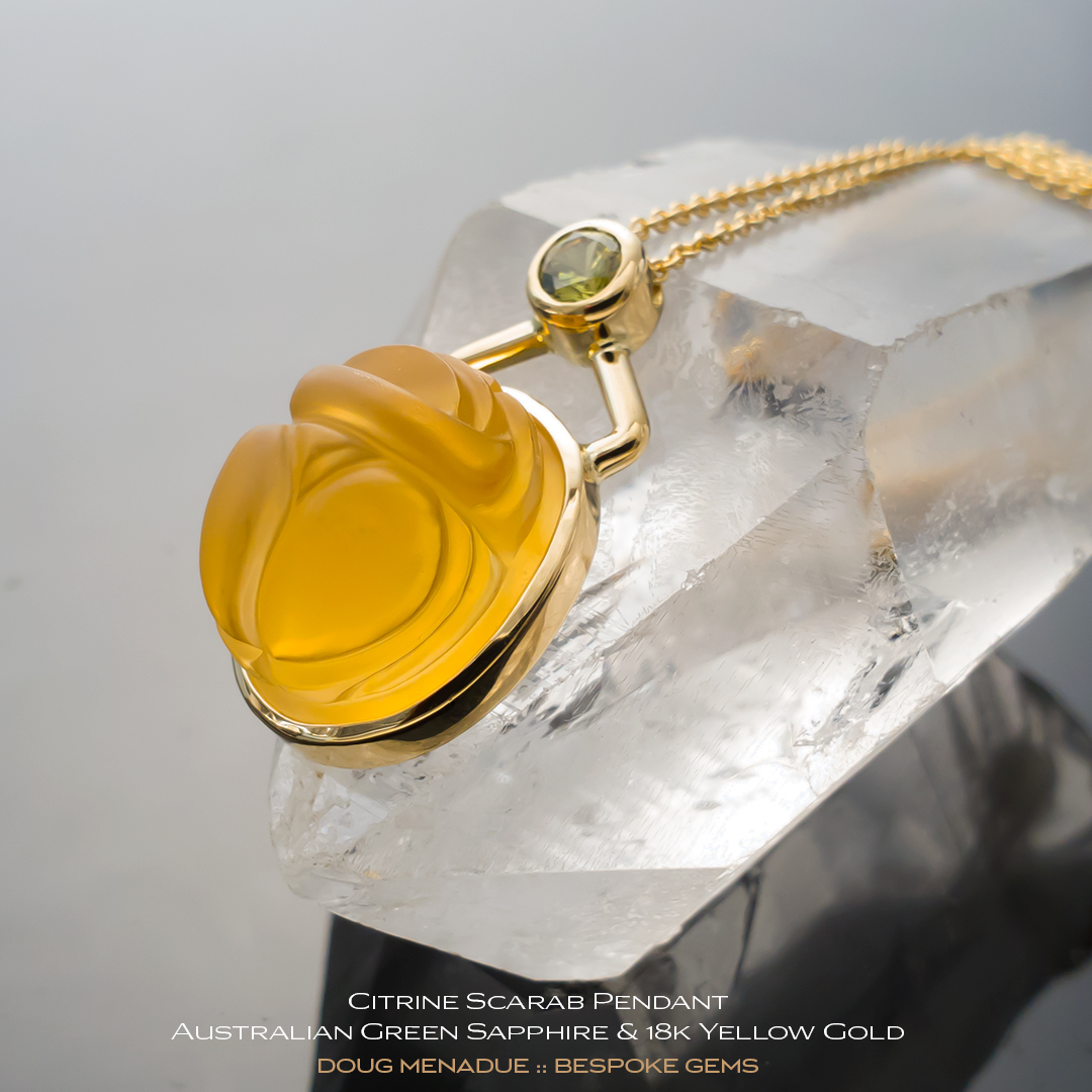 #bgj109, Citrine Scarab Pendant - A beautiful natural Braziln Citrine - Doug Menadue :: Bespoke Gems - WWW.BESPOKE-GEMS.COM - Precision Gemcutting and Lapidary Services In Sydney Australia