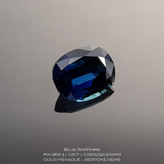 #nv965-3, Blue Sapphire, Oval, 1.2 Carats, 13.16X13.11X10.41mm - A beautiful natural Inverell, Australia or Cambodian Sapphire - Doug Menadue :: Bespoke Gems - WWW.BESPOKE-GEMS.COM - Precision Gemcutting and Lapidary Services In Sydney Australia