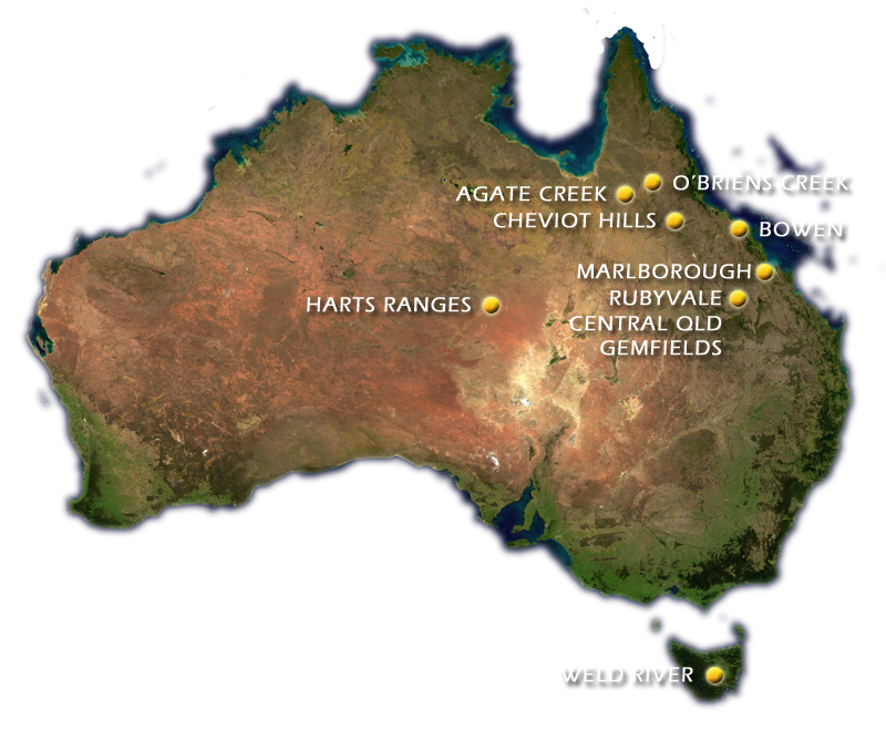 Map of Australia showing important gemstone locations - Doug Menadue :: Bespoke Gems