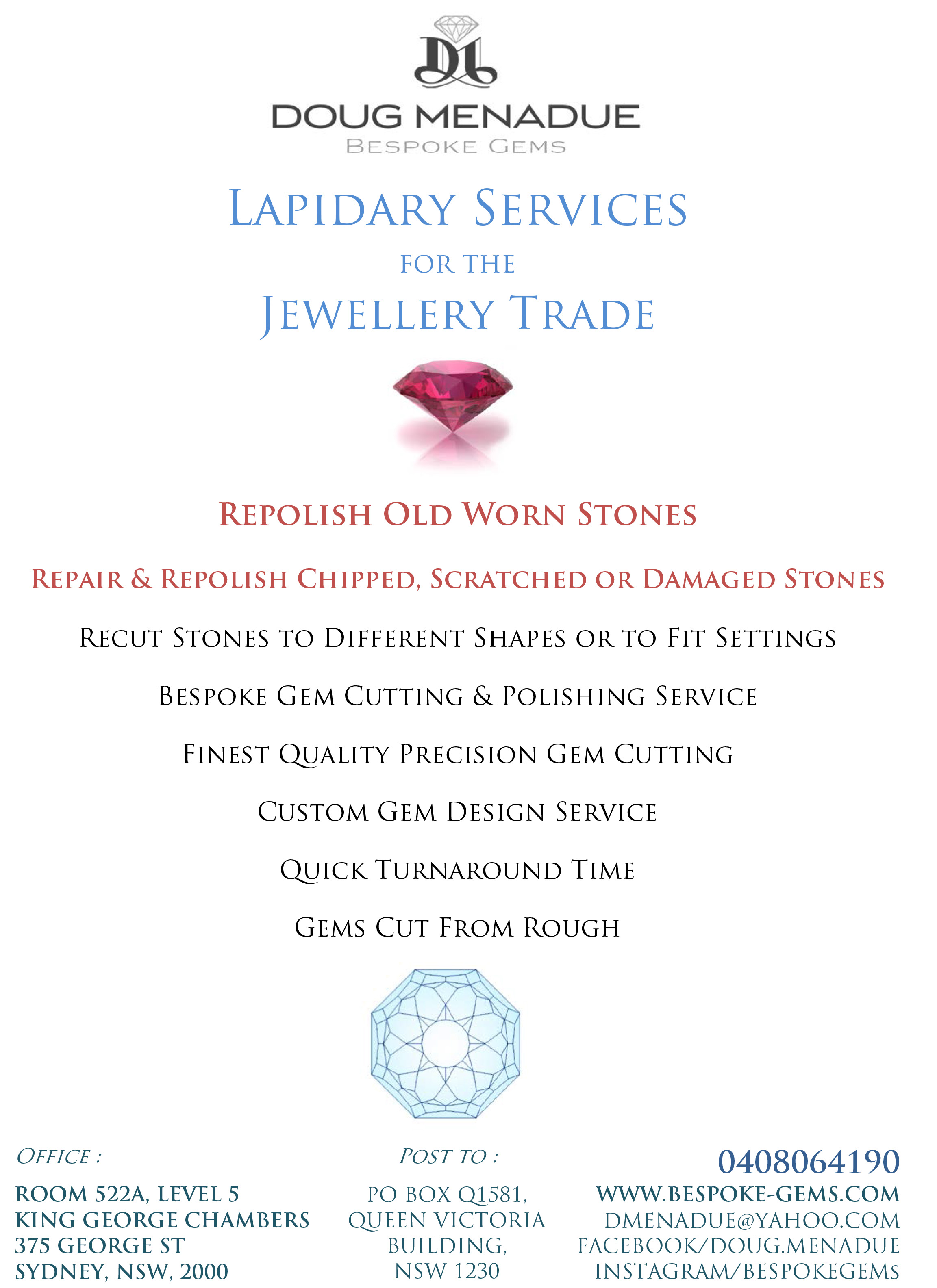 Doug Menadue :: Bespoke Gems - Lapidary services for the jewellery trade and general public