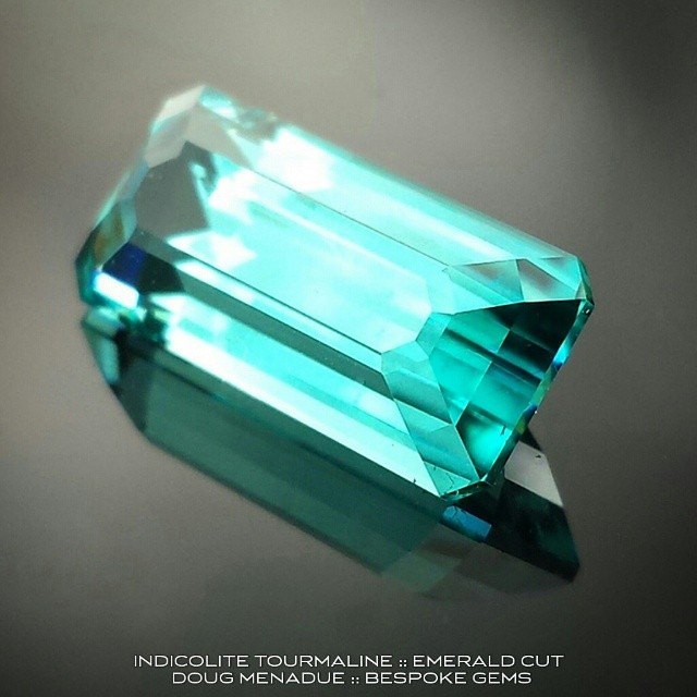 A beautiful indicolite tourmaline I recently cut for a client.  The colour is superb and as clear as the Caribbean waters.  WWW.BESPOKE-GEMS.COM - Precision Gemcutting and Lapidary Services Located In Sydney Australia