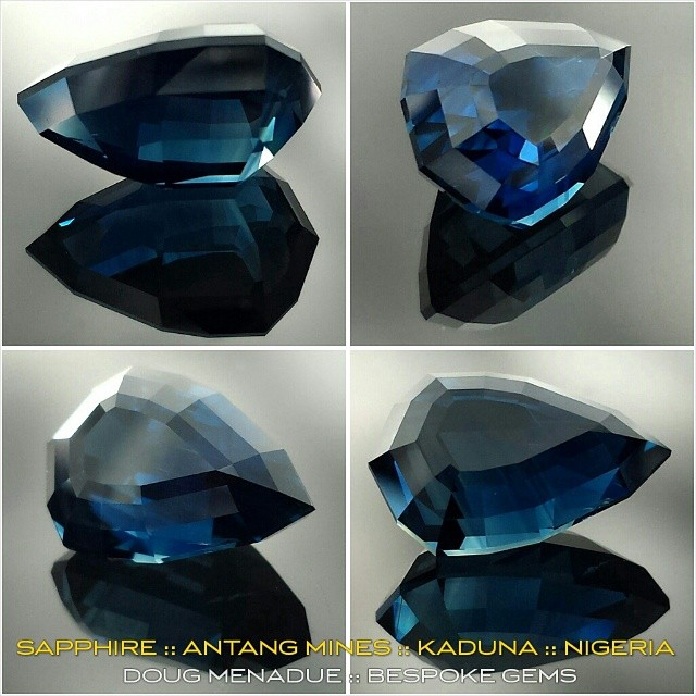 A beautiful royal blue Sapphire from the Antang mines in Kaduna, Nigeria. This beautiful gem is 3.7 carats and is truly a stunning colour. It was cut for a client from rough they supplied. If you want a sapphire like this one, have a chat with Brume Jeroh as he is the man in the know.  WWW.BESPOKE-GEMS.COM - Precision Gemcutting and Lapidary Services Located In Sydney Australia