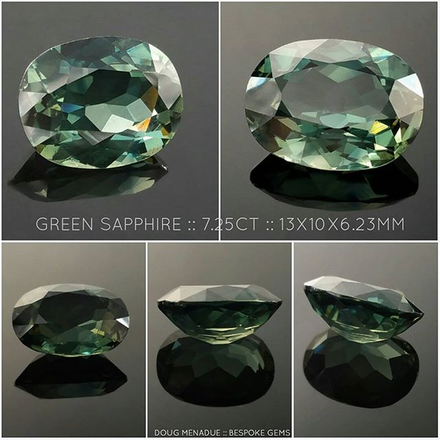 A big beautiful Australian green sapphire from Rubyvale on the Central Queensland gemfields. 7.25 carats, 13X10X6.23mm. This is a cracker of a sapphire from a private collection and is up for sale. Contact me for more details or check out my WHAT'S NEW page on my website.  DOUG MENADUE  WWW.BESPOKE-GEMS.COM - Precision Gemcutting and Lapidary Services Located In Sydney Australia