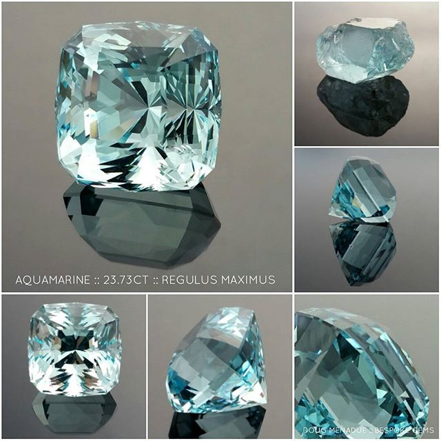 A big beautiful aquamarine,  23.73 carats,16.25x16.22x15.58mm. This is cut in my Regulus Maximus design which was inspired by Fred Van Sant's design,  Regulus. A big stone for a killer cocktail ring. Available.  DOUG MENADUE  WWW.BESPOKE-GEMS.COM  SYDNEY CBD AUSTRALIA - Precision Gemcutting and Lapidary Services Located In Sydney Australia