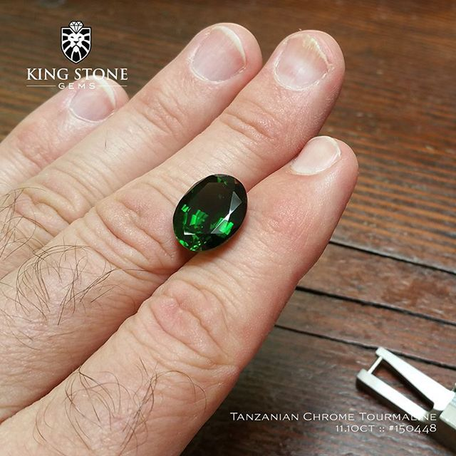 A magnificent Tanzanian chrome tourmaline, 11.10ct, 16x12.7x8.52mm. This is a big stone and rare for its size and clarity. The gem is eye clean and has the classic chrome green colour. It's a superb stone and one for the collector. Available from King Stone Gems.  http://www.kingstonegems.com/fine-loose-coloured-gemstones/tanzanian-chrome-tourmaline-oval-150448/  WWW.KINGSTONEGEMS.COM  SYDNEY CBD AUSTRALIA - Precision Gemcutting and Lapidary Services Located In Sydney Australia