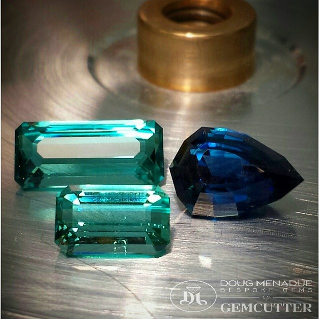 A nice combo of blues... a couple of fine tourmalines and a rich royal sapphire.  WWW.BESPOKE-GEMS.COM - Precision Gemcutting and Lapidary Services Located In Sydney Australia