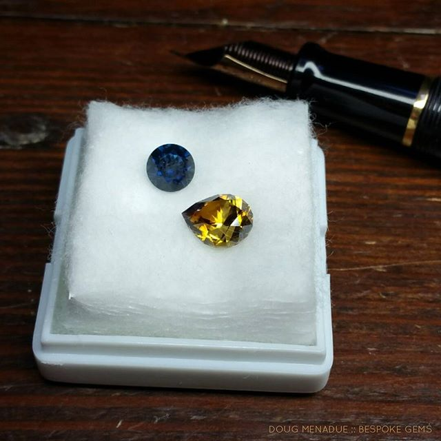 A top blue gemfields sapphire and a zircon. Going to hand deliver them this weekend to the fellow who hand dug them at Rubyvale in Central Queensland.  DOUG MENADUE  WWW.BESPOKE-GEMS.COM  SYDNEY CBD AUSTRALIA - Precision Gemcutting and Lapidary Services Located In Sydney Australia