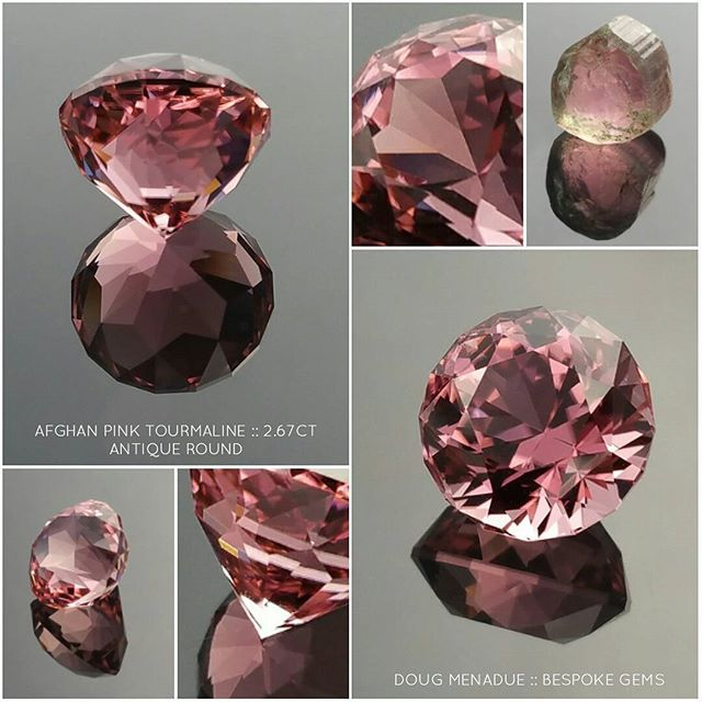 AFGHAN PINK TOURMALINE :: 2.67CT :: ANTIQUE ROUND :: 8.00x8.00x6.68mm :: This is an outstanding pink tourmaline from Afghanistan. This is among my most favorite of stones to work with. There is something about the Afghani tourmalines which makes them the among the finest in the world. This beauty is truly superb, the colour is what I would call ''candy'' pink and is intense! The gem was orientated and cut down the ''C'' axis which is the way to get the best colour out of a stone. You can see the original tourmaline crystal �here. The design I chose is one of my classic designs, the Antique Round.  Overall, this is a first-class pink tourmaline gemstone and one that I know you will absolutely fall in love with. A very highly recommended gemstone and definitely one for those that love PINK!  DOUG MENADUE  WWW.BESPOKE-GEMS.COM  SYDNEY CBD AUSTRALIA - Precision Gemcutting and Lapidary Services Located In Sydney Australia