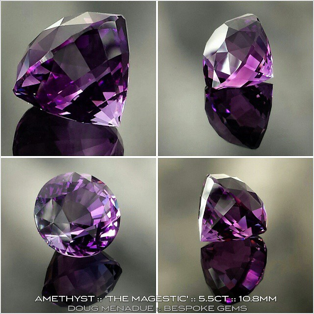 AMETHYST :: 'THE MAGESTIC' :: 5.5 CT :: 10.8MM :: Here is a totally luxurious looking amethyst. I cut this one last week in my new round design called 'THE MAGESTIC'. It is a gorgeous gemstone with rich colours and would make a truly stunning solitare ring stone. I hope you like this new design. *** AVAILABLE FOR SALE *** Inquires :: dmenadue@yahoo.com  WWW.BESPOKE-GEMS.COM - Precision Gemcutting and Lapidary Services Located In Sydney Australia