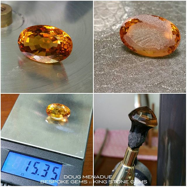 About to do a recut on this large golden citrine. Going to turn this oval into an exquisite Utopia Pear. First step is to rough up the table and then dop it onto the brass dopstick using wax. From here I then centre the stone and cut the pavilion.  WWW.BESPOKE-GEMS.COM  WWW.KINGSTONEGEMS.COM  SYDNEY CBD - AUSTRALIA - Precision Gemcutting and Lapidary Services Located In Sydney Australia