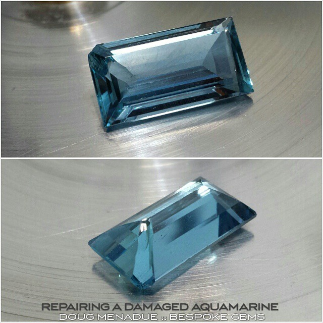 About to do some surgery on this nicely coloured aquamarine baguette. The corner was chipped during setting and a large flake broke away on one of the pavilion edges. It's pretty nasty and I'm going to have to turn the baguette into an emerald cut. This sort of repair has to be very carefully done.  WWW.BESPOKE-GEMS.COM - Precision Gemcutting and Lapidary Services Located In Sydney Australia