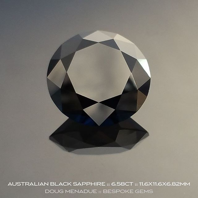 An amazing natural Australian black sapphire, 6.58ct, 11.6X11.6X6.82mm. This beauty is part of an old digger's cache and is up for sale.  Contact me for more details or visit my What's New page.  DOUG MENADUE  WWW.BESPOKE-GEMS.COM - Precision Gemcutting and Lapidary Services Located In Sydney Australia