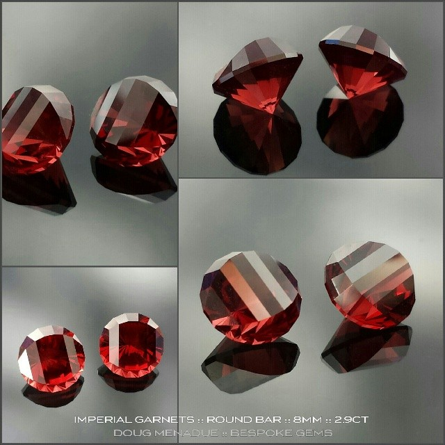 An exceptional pair of red Imperial garnets cut in a modern round bar design, 8mm, 2.9 carats each. Perfect for a pair of men's cufflinks.  WWW.BESPOKE-GEMS.COM *SOLD* - Precision Gemcutting and Lapidary Services Located In Sydney Australia