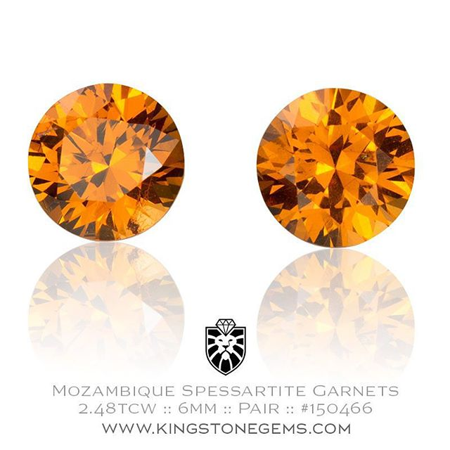 Another beautiful pair of vivid fanta orange spessartite garnets from Mozambique. These gems are cut in the round brilliant style and are calibrated to 6mm making them easy to set. 2.48 total carat weight. Perfect for ear studs!  http://www.kingstonegems.com/fine-loose-coloured-gemstones/mozambique-orange-spessartite-garnet-round-pair-150466/  WWW.KINGSTONEGEMS.COM SYDNEY CBD AUSTRALIA - Precision Gemcutting and Lapidary Services Located In Sydney Australia
