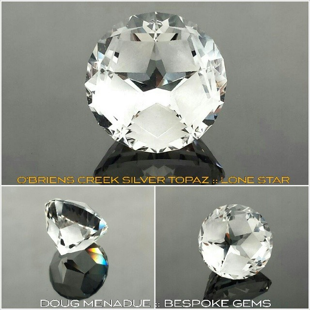Another super O'Briens Creek silver topaz 'LONE STAR' finished and on its way to its new owner in California.  WWW.BESPOKE-GEMS.COM - Precision Gemcutting and Lapidary Services Located In Sydney Australia