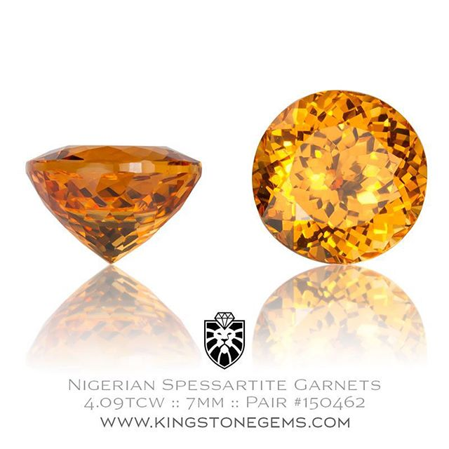 Bright orange spessartite garnets anyone?  This pair have that intense fanta orange colour and are dynamite! The perfect stones for a pair of ear studs. 7mm, 4.09 tcw.  http://www.kingstonegems.com/fine-loose-coloured-gemstones/nigerian-orange-spessartite-garnet-round-pair-150462/  WWW.KINGSTONEGEMS.COM  SYDNEY CBD AUSTRALIA - Precision Gemcutting and Lapidary Services Located In Sydney Australia