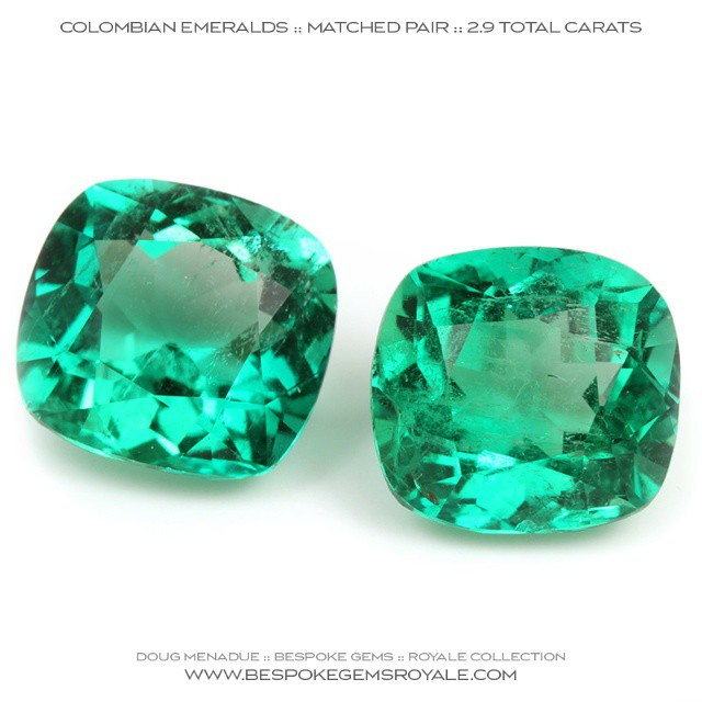 COLOMBIAN EMERALDS :: 2.9 CARATS :: 7.3X7.3X6.8MM  A very fine pair of matched Colombian emeralds. These would make lovely earring stones or maybe even cufflinks.  WWW.BESPOKEGEMSROYALE.COM - Precision Gemcutting and Lapidary Services Located In Sydney Australia