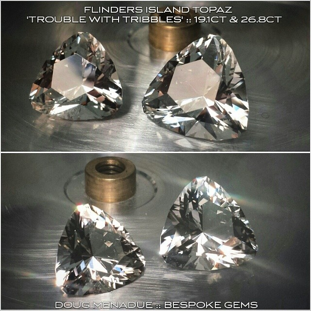 Finished! A couple of big Flinders Island topaz,  also known as ' Killiecrankie Diamonds'. These were cut from the client's own rough they found on a fossicking trip to the island. They are nice big gems,  one is 17.1mm and 19.1ct. The other is 19.3mm and 26.8ct. Very impressive stones!  WWW.BESPOKE-GEMS.COM - Precision Gemcutting and Lapidary Services Located In Sydney Australia