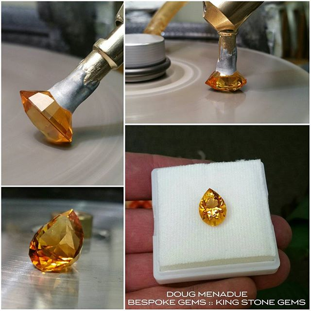 Finished! A lovely radiant golden citrine Utopia Pear that came in at 16x11x10.45mm and 8.65 carat. It looks a bit better then the original windowed oval for sure. I do love citrine.  I've got more of this same coloured material if anyone is interested my cutting them something fancy. :-) WWW.BESPOKE-GEMS.COM  WWW.KINGSTONEGEMS.COM  SYDNEY CBD AUSTRALIA - Precision Gemcutting and Lapidary Services Located In Sydney Australia