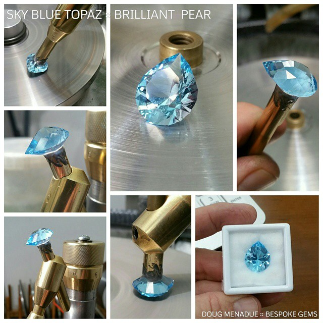 Finished! Here is the lovely sky blue topaz that I've been working on for the last couple of days. It turned out beautifully,  the colour is fabulous... just like a killer aqua. It came in at 15x18x10mm and 15.25 carats. It was a pleasure to cut and polished nicely.  WWW.BESPOKE-GEMS.COM  SYDNEY :: AUSTRALIA - Precision Gemcutting and Lapidary Services Located In Sydney Australia