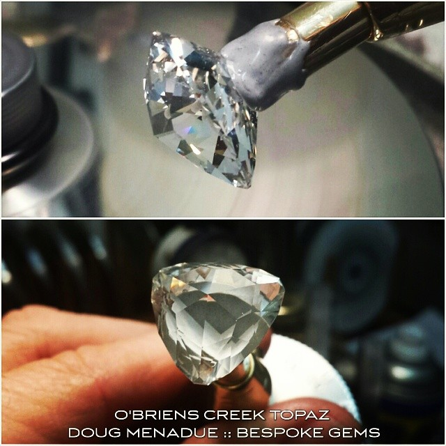Finishing up a big pair of beautiful O'Briens Creek topaz. Doing the final 100K polish.  WWW.BESPOKE-GEMS.COM - Precision Gemcutting and Lapidary Services Located In Sydney Australia