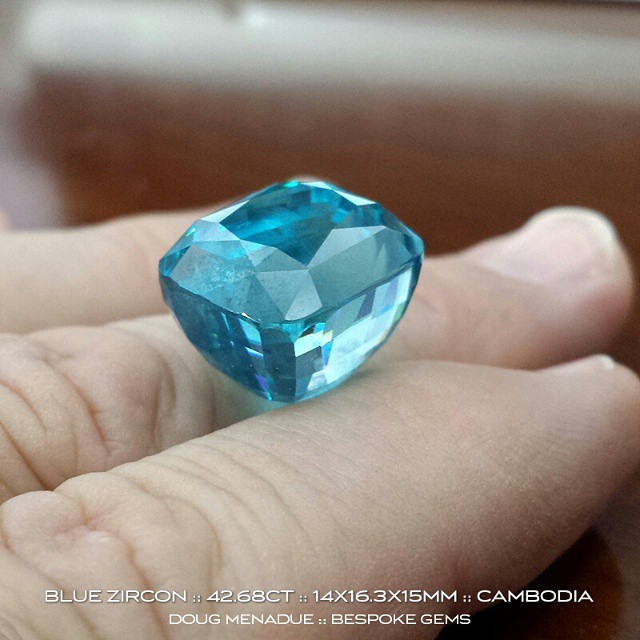 Here's another shot of that monster blue zircon.  It would make the biggest cocktail ring ever. :-) Available for sale.  WWW.BESPOKE-GEMS.COM - Precision Gemcutting and Lapidary Services Located In Sydney Australia
