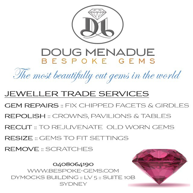 Hi folks,  Just wanted to let everyone know some of the services I provide to the jewellery trade. I'm located in the DYMOCKS BUILDING here in Sydney, LEVEL 5, SUITE 10B, so I'm nice and convenient and I try my best to provide a quick turnaround on jobs. If you have any questions or inquires feel free to give me a call or drop in.  0408064190  JEWELLER TRADE SERVICES :: GEM REPAIRS :: Fix chipped facets and girdles REPOLISH :: Crowns, pavilions and tables RECUT :: To rejuvenate old worn stones RESIZE :: Gems to fit settings REMOVE :: Scratches  WWW.BESPOKE-GEMS.COM - Precision Gemcutting and Lapidary Services Located In Sydney Australia