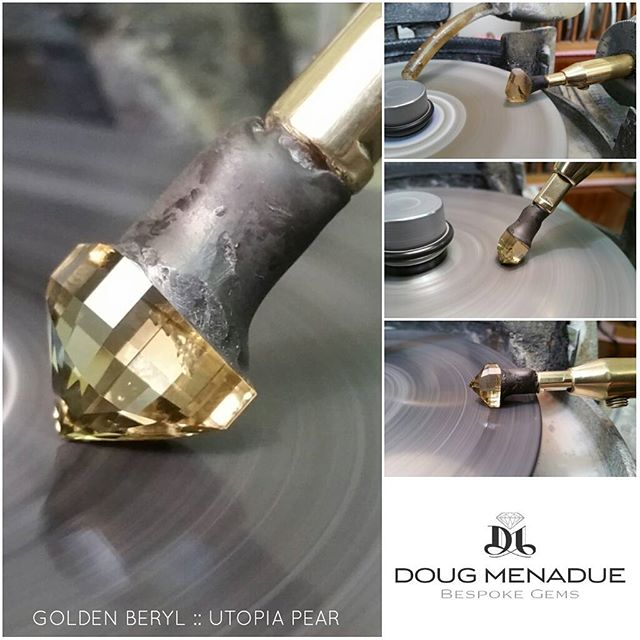 In progress... a nice golden beryl cut in my favorite pear design,  the Utopia Pear by Jeff Graham.  Finish it off on Monday.  DOUG MENADUE  WWW.BESPOKE-GEMS.COM - Precision Gemcutting and Lapidary Services Located In Sydney Australia