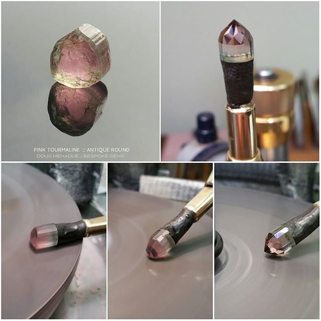 In progress... that nice sweet little piece of candy pink tourmaline from Afghanistan. It's shaping up to be an 8mm Antique Round. It's going to have just the nicest pink color ever. :-)    DOUG MENADUE  WWW.BESPOKE-GEMS.COM - Precision Gemcutting and Lapidary Services Located In Sydney Australia