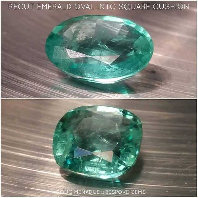 Just finished a recut of an emerald oval into a square cushion to replace a missing stone from a pair of earrings. Only lost 26 points.  DOUG MENADUE  WWW.BESPOKE-GEMS.COM  SYDNEY CBD AUSTRALIA - Precision Gemcutting and Lapidary Services Located In Sydney Australia