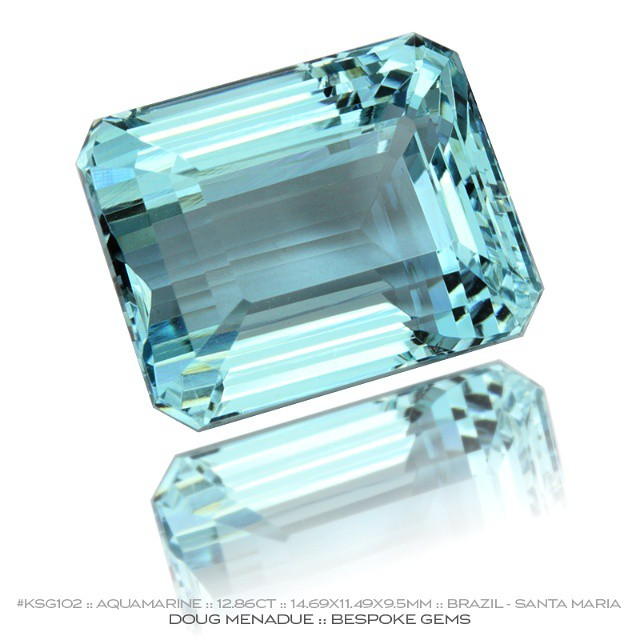 KSG102 :: AQUAMARINE :: 12.86CT :: 14.69X11.49X9.5MM :: BRAZIL :: SANTA MARIA :: A superb aquamarine - big, beautiful, strongly coloured and eye clean.  This gem has been Australian cut so the quality of the finish is first class. The design is the classic Emerald Cut which brings out the best in this aquamarine.  Available for sale.  Contact via PM or email dmenadue@yahoo.com  WWW.BESPOKE-GEMS.COM - Precision Gemcutting and Lapidary Services Located In Sydney Australia