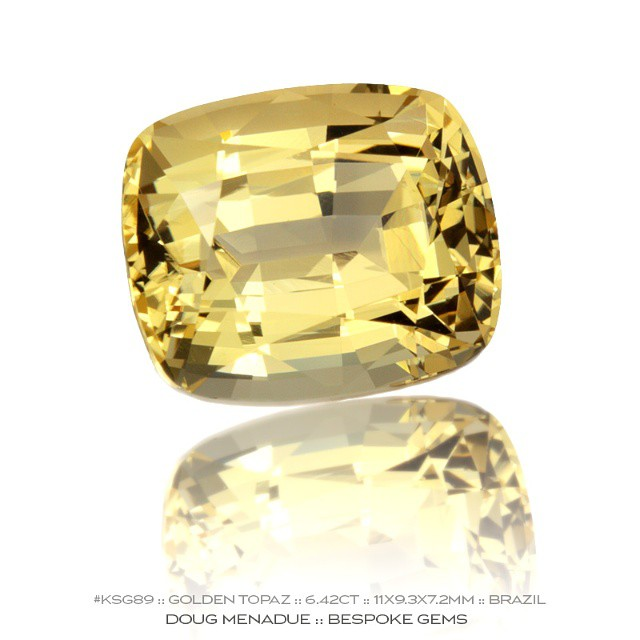 KSG89 :: GOLDEN TOPAZ :: 6.42CT :: 11X9.3X7.2MM :: RECTANGLE CUSHION :: BRAZIL :: A drop of golden delight!  Available for sale.  Contact via PM or email dmenadue@yahoo.com  WWW.BESPOKE-GEMS.COM :: SYDNEY :: AUSTRALIA - Precision Gemcutting and Lapidary Services Located In Sydney Australia