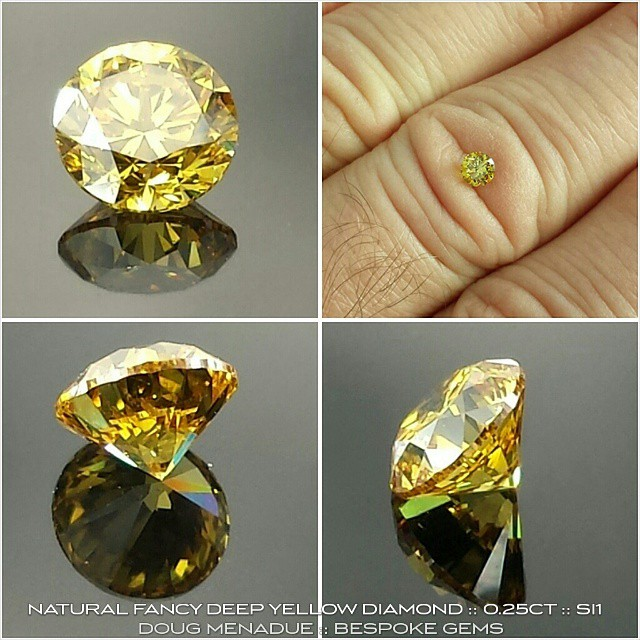 NATURAL FANCY INTENSE YELLOW DIAMOND :: 0.24CT :: SI1 :: 4.01x4.04x2.45MM :: GIA CERT :: Available for sale. For more details contact me at :: dmenadue@yahoo.com  WWW.BESPOKE-GEMS.COM - Precision Gemcutting and Lapidary Services Located In Sydney Australia