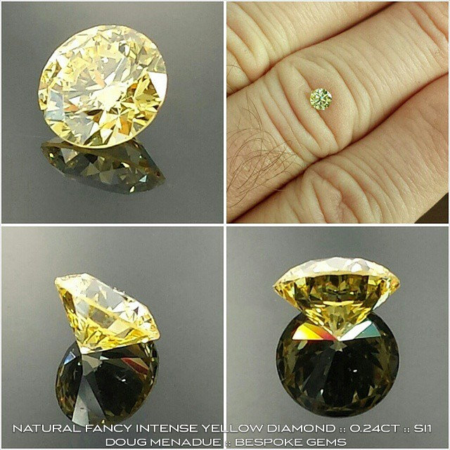 NATURAL FANCY VIVID YELLOW DIAMOND :: 0.24CT :: VS1 :: 3.97x3.99x2.48MM :: ROUND BRILLIANT :: GIA CERT :: A beautiful vivid yellow diamond available for sale. Contact me for more details at :: dmenadue@yahoo.com  WWW.BESPOKE-GEMS.COM - Precision Gemcutting and Lapidary Services Located In Sydney Australia