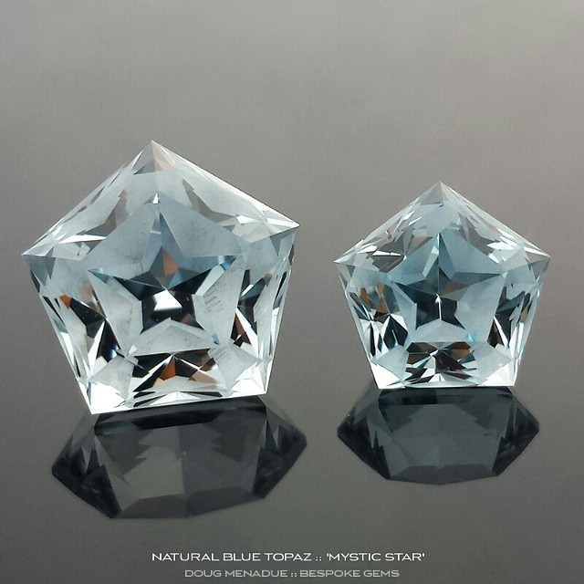 Natural blue topaz 'MYSTIC STAR' bespoke gems. When you look straight down you see a five pointed star sparkling back at you.  WWW.BESPOKE-GEMS.COM - Precision Gemcutting and Lapidary Services Located In Sydney Australia