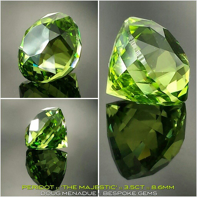 PERIDOT :: 'THE MAJESTIC' :: 3.5CT :: 8.6MM :: A new and striking peridot freshly polished... a truly beautiful gemstone. *** AVAILABLE FOR SALE *** Contact :: dmenadue@yahoo.com  WWW.BESPOKE-GEMS.COM - Precision Gemcutting and Lapidary Services Located In Sydney Australia