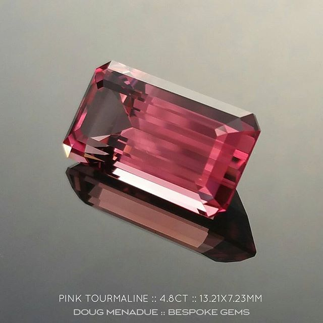PINK TOURMALINE :: 4.8CT :: 13.21x7.23x6.09MM :: BRAZIL :: EMERALD CUT :: This is a truly outstanding rich pink tourmaline from Brazil. The colour is absolutely amazing and if you like the pics you will love the gem. The stone is exceptional is every regard. It has been precision faceted by an Australian gemcutter and the cut and polish is first class. The design is the classic Emerald Cut and it really shows off the brilliant colour of the gem. You could do anything with this fabulous pink tourmaline, you could set it as a pendant, a ring, anything your imagine can conjure up. A beautiful pink tourmaline that I highly recommend. Available for purchase.  DOUG MENADUE  WWW.BESPOKE-GEMS.COM - Precision Gemcutting and Lapidary Services Located In Sydney Australia