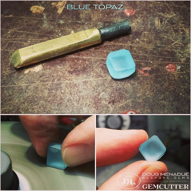 Preparing a little blue topaz.  WWW.BESPOKE-GEMS.COM - Precision Gemcutting and Lapidary Services Located In Sydney Australia