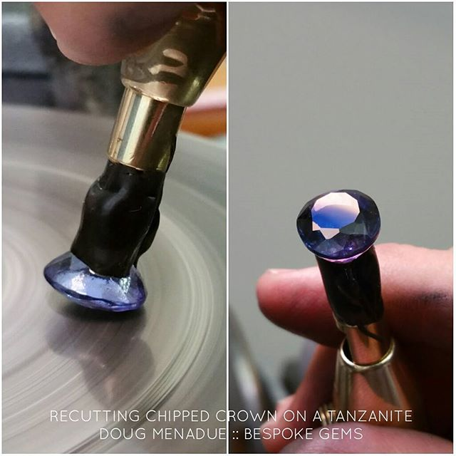 Recutting and repairing a chipped crown on this large tanzanite oval. Painstaking working. Having to find each and every facet on commercial cut stones... eeeyup. Patience grasshopper... DOUG MENADUE  SYDNEY CBD AUSTRALIA  WWW.BESPOKE-GEMS.COM - Precision Gemcutting and Lapidary Services Located In Sydney Australia